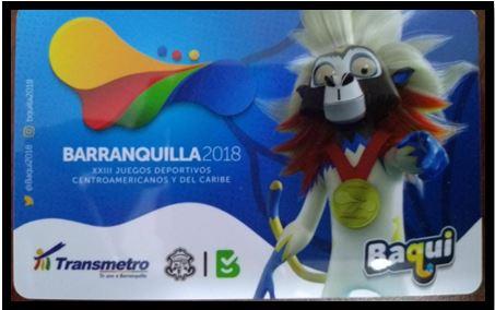 A la venta nueva edición de la tarjeta Transmetro dedicada a Baqui, anfitrión de los Centroamericanos 2018